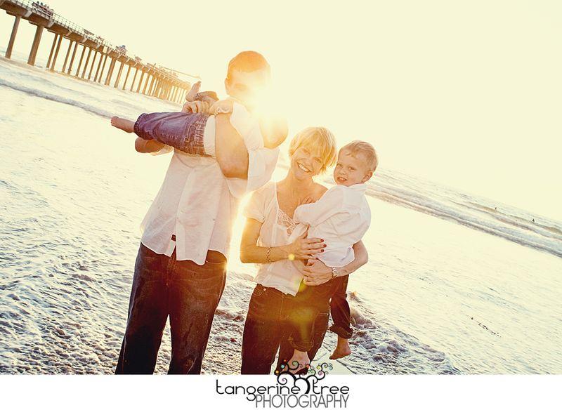 Family beach sun flare