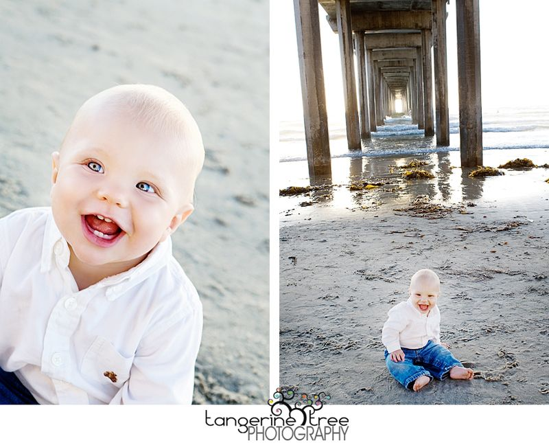 Happy baby beach sand pier