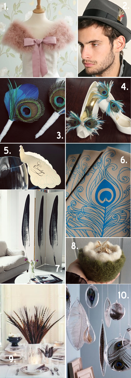 Feather inspiration board tangerine tree photography